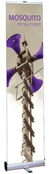 """Mosquito 400 Retractable Banner Stand 15.75"""" wide Silver, 4-piece pole, snap top graphic rail and padded bag"""