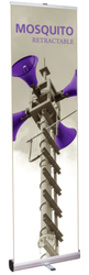 """Mosquito 600 Retractable Banner Stand 23.5"""" wide Silver, bungee pole, snap top graphic rail and padded bag"""