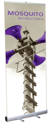 """Mosquito 850 Retractable Banner Stand 33.5"""" wide Silver, bungee pole, snap top graphic rail and padded bag"""