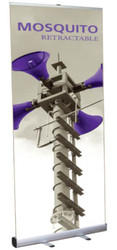 """Mosquito 920 Retractable Banner Stand 36"""" wide Silver, bungee pole, snap top graphic rail and padded bag"""