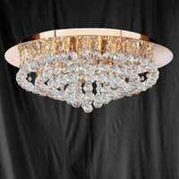 S9134088GO Hanna 8 Light Gold & Crystal Ceiling Light