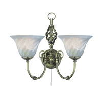 Searchlight 972-2 Cameroon 2 Light Wall Light Antique Brass