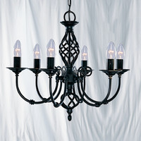 Searchlight 3379-6 Zanzibar 6 Light Ceiling Light Black