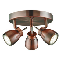 S918813CU Antique Copper 3 Light Spot Light
