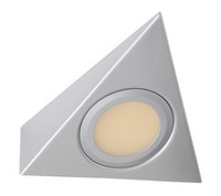 240 Volt LED Triangle Under cupboard Light Satin Silver Round 2.4W