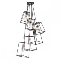 Dar TOW0622 Tower 6 Light Cluster Pendant Black & Copper