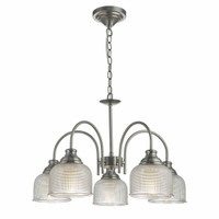 Dar TAC0561 Tack 5 Light Pendant Antique Chrome