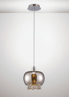 Diyas IL31600 Pandora 1 Light Ceiling Pendant Polished Chrome/Mirrored Glass