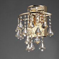 Diyas IL32774 Inina 2 Light French Gold Crystal Wall Light