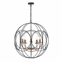 DOHP100522  5Lt Black/Copper Chandelier