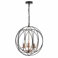 DOHP100322  3Lt Black/Copper Chandelier