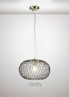 1531523  1 Light Large Crystal Pendant Antique Brass