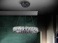 Crystal Ring Circular LED Ceiling Pendant Chrome/Crystal