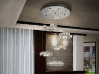 COCO Multi Ring LED Pendant Crystal/Chrome