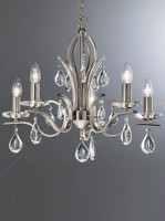 LFF4122985 5 Light Chandelier Satin Nickel