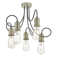DAR ALZ5475 Alzbet 5 Light Semi Flush Antique Brass