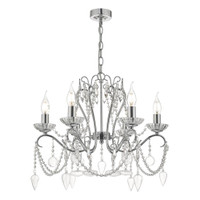 DAR NUL0650 Nulara 6lt Chandelier Polished Chrome
