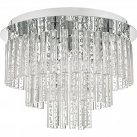 Dar PAU5450 Paulita 5 Light Flush Polished Chrome And Clear Glass