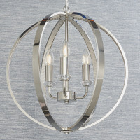 E3181507 3 Light Chrome & Crystal Pendant