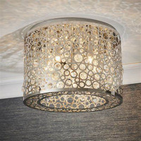 E3181974 5 Light Flush Chrome & Crystal Ceiling Light