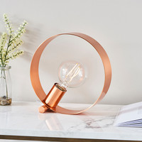 E3190455 1 Light Hoops Brushed Copper Table Lamp