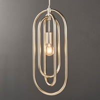E3190590 Looped Antique Silver 1 Light Pendant