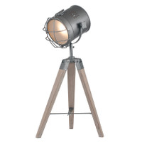 PA30543C Grey Metal & Antique Wood Tripod