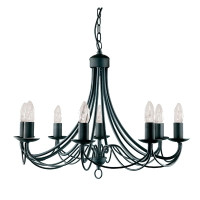 Searchlight 6348-8BK Maypole 8 Light Black Ceiling Light