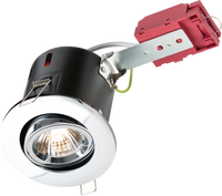 Mains Voltage Recessed Tiltable Downlight 240Volt Chrome FIRE RATED