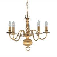 Searchlight 1019-5AB Flemish 5 Light Chandelier Antique Brass