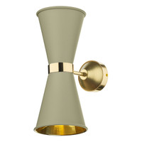 David Hunt Hyde HYD092 Brass Twin Wall light With Pebble Shade