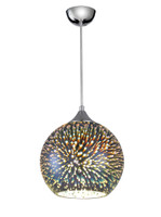 44127 Explosion 1 Light 25cm Ceiling Pendant Chrome & Glass