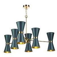 David Hunt HYD1223 Hyde 12 Light Brass Pendant With Smoked Blue Shades