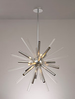 200971 Rods 16 Light Ceiling Pendant Chrome/Clear & Smoked Glass