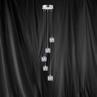 S9167755-LED Ice Cube 5 Light Ceiling Pendant Chrome