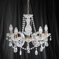 Searchlight 699-5 Marie Therese 5 Light Polished Brass Chandelier