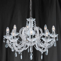 Searchlight 399-8 Marie Therese 8 Light Chrome/ Glass Chandelier