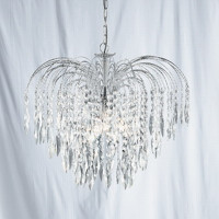 S9141755 Cascade 5 Light Chrome & Crystal Chandelier