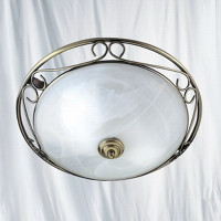 S916436 Flush Antique Brass Ceiling Light
