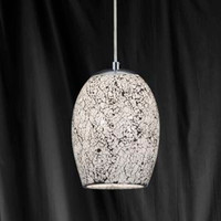 Searchlight 8069WH Crackle 1 Light Ceiling Pendant White Mosaic