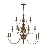 David Hunt  FLE1563 Flemish 15 Light Chandelier Matt Bronze