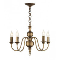 DAR FLE0563 Flemish 5 Light Chandelier Matt Bronze