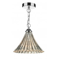 DAR ARD0150 Ardeche 1 Light Fluted Glass Pendant Polished Chrome