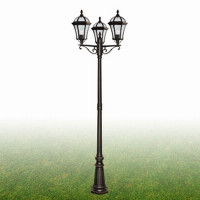 S9115693 Capri Triple Lamp Post IP43 Rustic Brown
