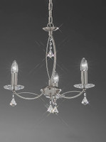 4122253 Poole 3 light crystal chandelier Satin Nickel