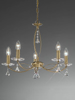 4122285 Poole 5 light crystal chandelier Bronze