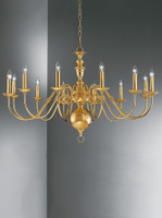 Franklite CO41712PB Delft 12 light chandelier brass