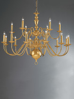 Franklite CO41718PB Delft 18 light chandelier brass