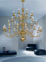 Franklite CO41732PB Delft 32 light chandelier brass
