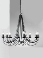 Franklite FL2173/8 Philly 8 light ironwork chandelier satin black